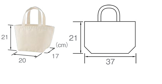 目玉焼き トートバッグ サイズ表