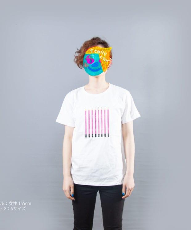 3H~ 3B デッサン鉛筆 Tシャツ女性モデル正面