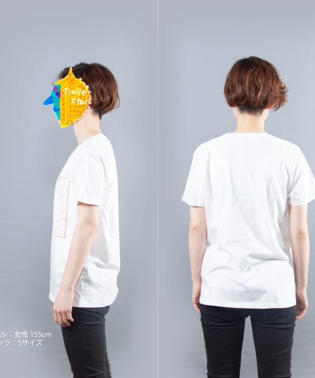 原稿用紙Tシャツ女性モデル横後ろ