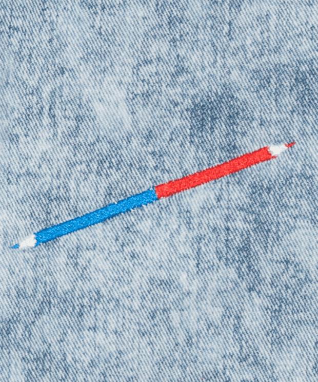 赤青鉛筆 デニム トートバッグ 刺繍拡大