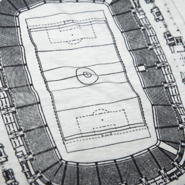 サッカースタジアムの間取り ユニセックス Tシャツ シルクスクリーン印刷 拡大