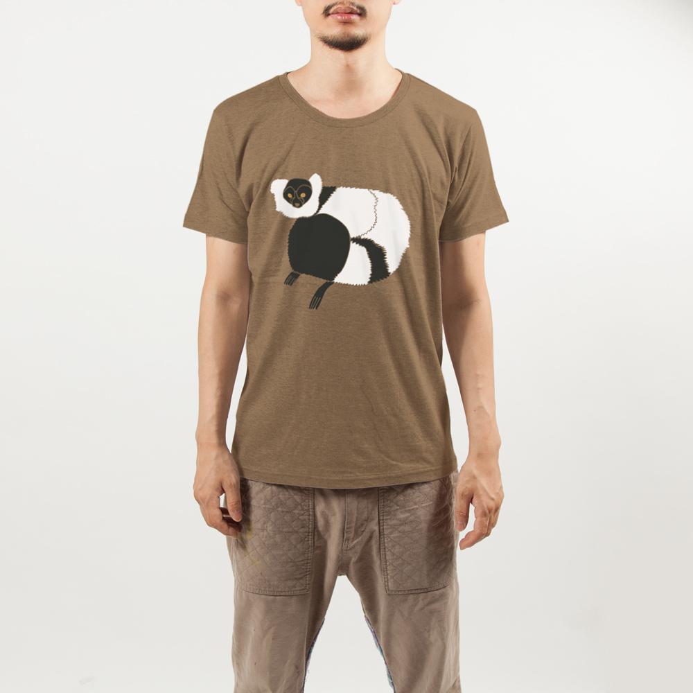 エリマキキツネザルTシャツ男性モデル正面