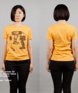 電機ドリルTシャツ女性モデル正面うしろ