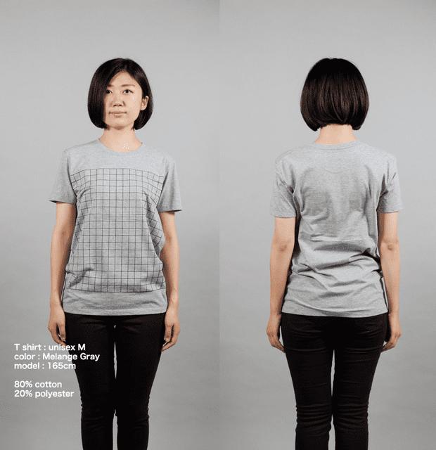 碁盤Tシャツ女性モデル正面うしろ