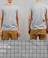 碁盤Tシャツ男性モデル正面うしろ シルクスクリーン印刷拡大