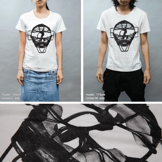 キャッチャー デザインTシャツ 女性モデル正面男性モデル正面