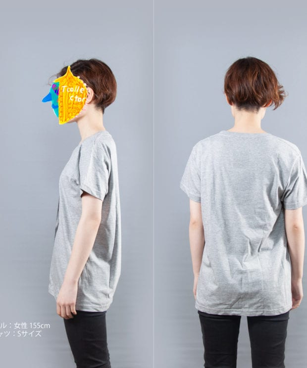 石膏ジュリアンTシャツ女性モデル横後ろ