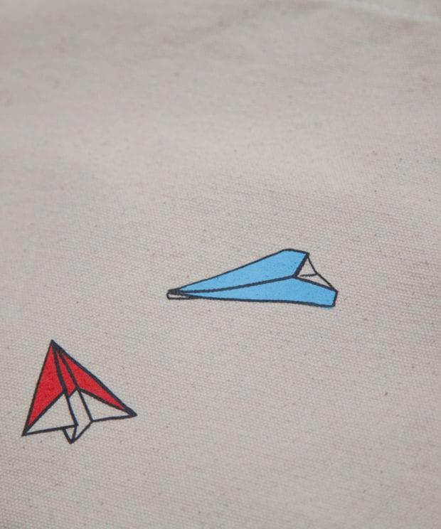 紙飛行機 キャンバス トートバッグ シルクスクリーン印刷 拡大