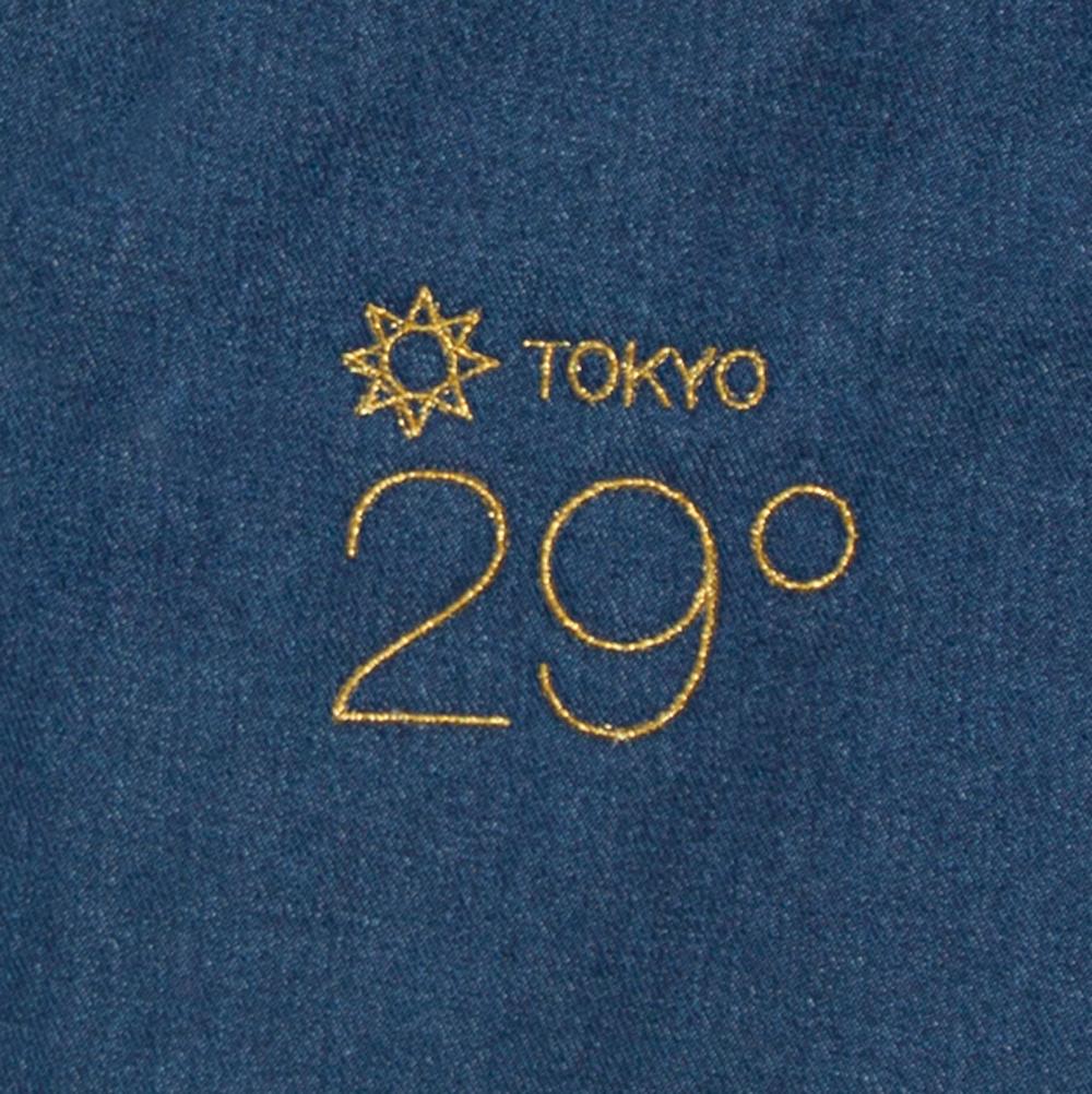 東京の気温 デニム ラージ トートバッグ 刺繍 拡大