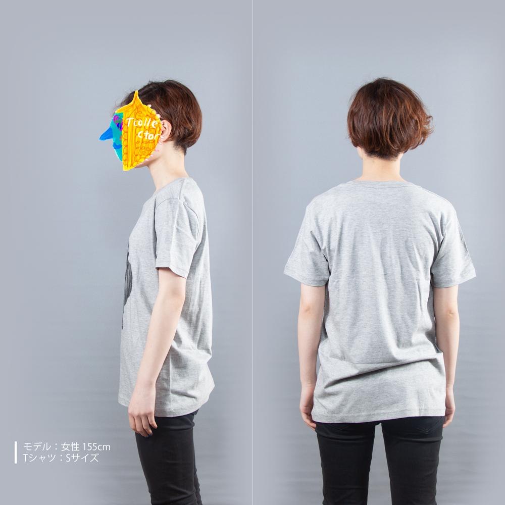 石膏モリエールTシャツ女性モデル横後ろ