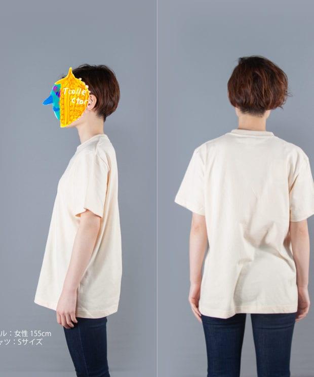 長ネギTシャツ女性モデル横後ろ