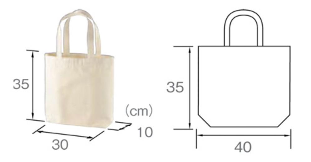 ラーメン トートバッグ イエロー サイズ表