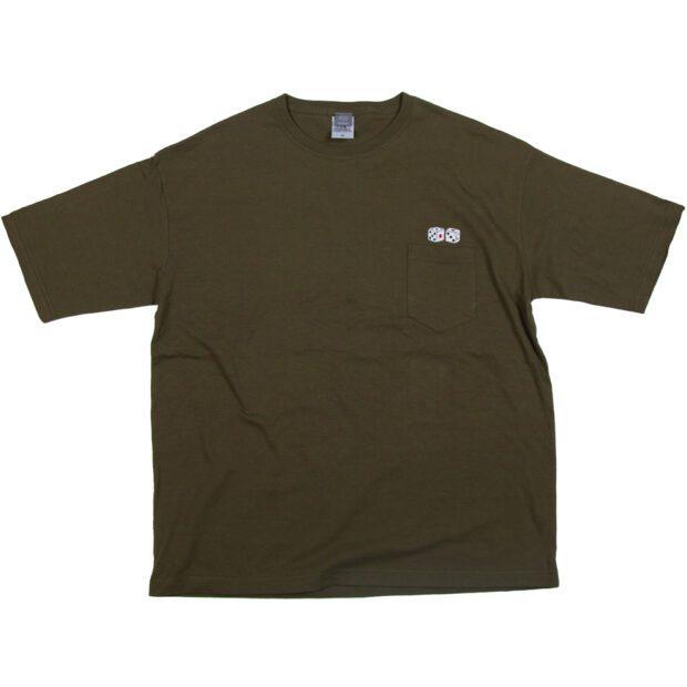 サイコロ 刺繍 ポケットTシャツ