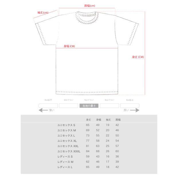 TVⅡ 2チャンネル デザイン Tシャツ サイズ表