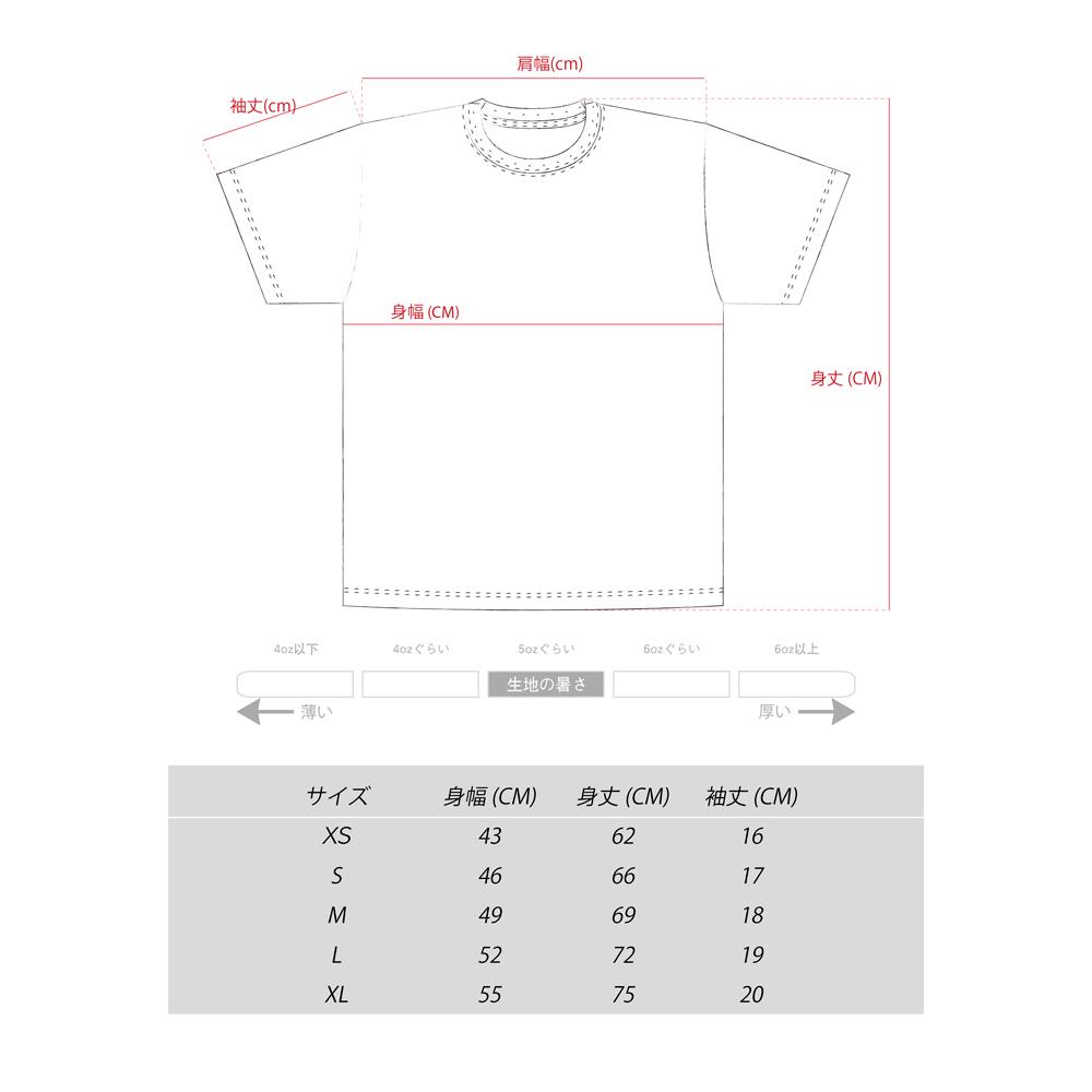 キャッチャー デザインTシャツ サイズ表