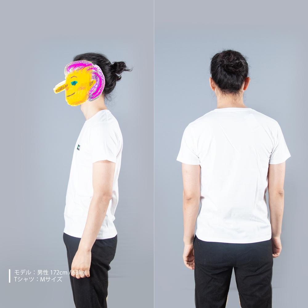 開と閉Tシャツ男性モデル横後ろ