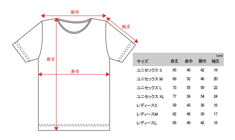 U字磁石 Tシャツ サイズ表