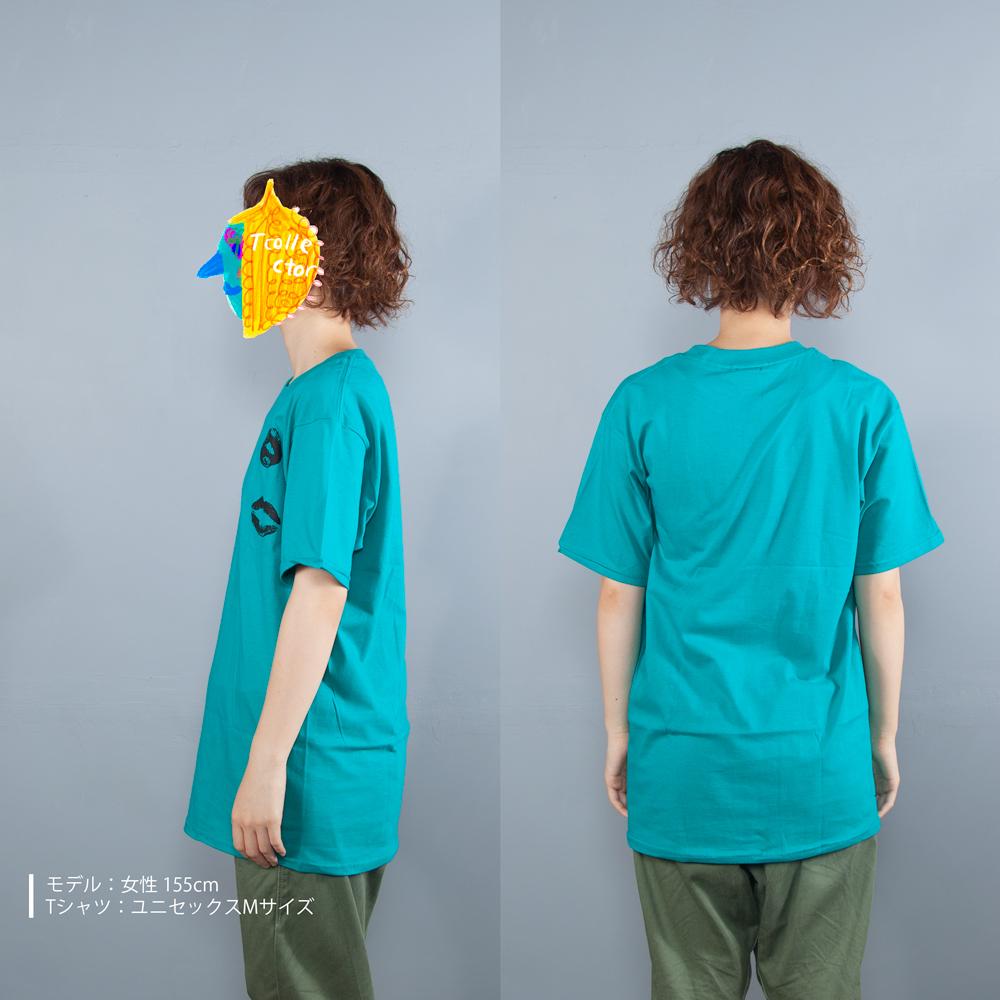 キスマークTシャツ女性モデル横うしろ