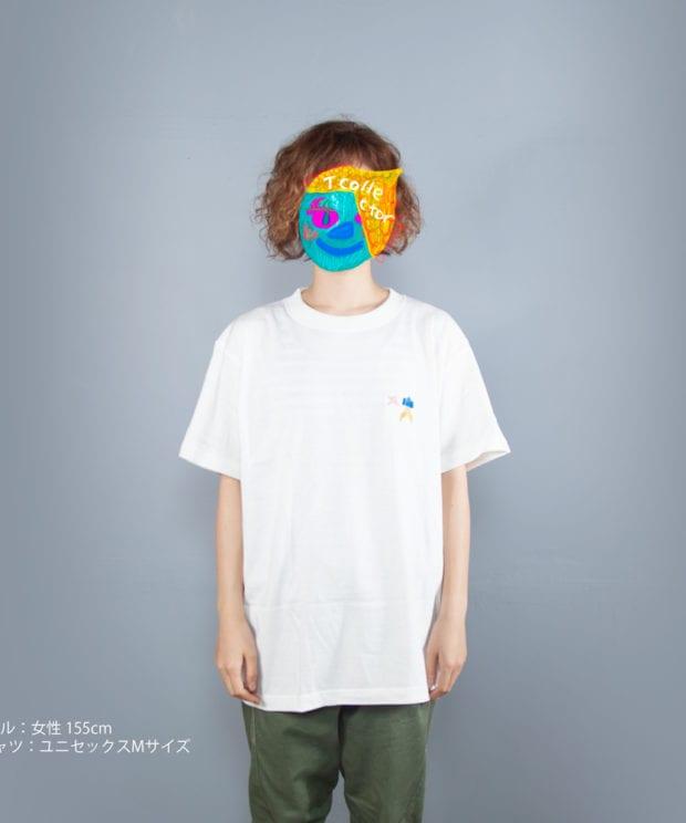 手裏剣折り紙刺しゅうTシャツモデル正面