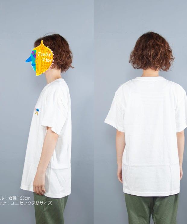 手裏剣折り紙刺しゅうTシャツモデル横うしろ