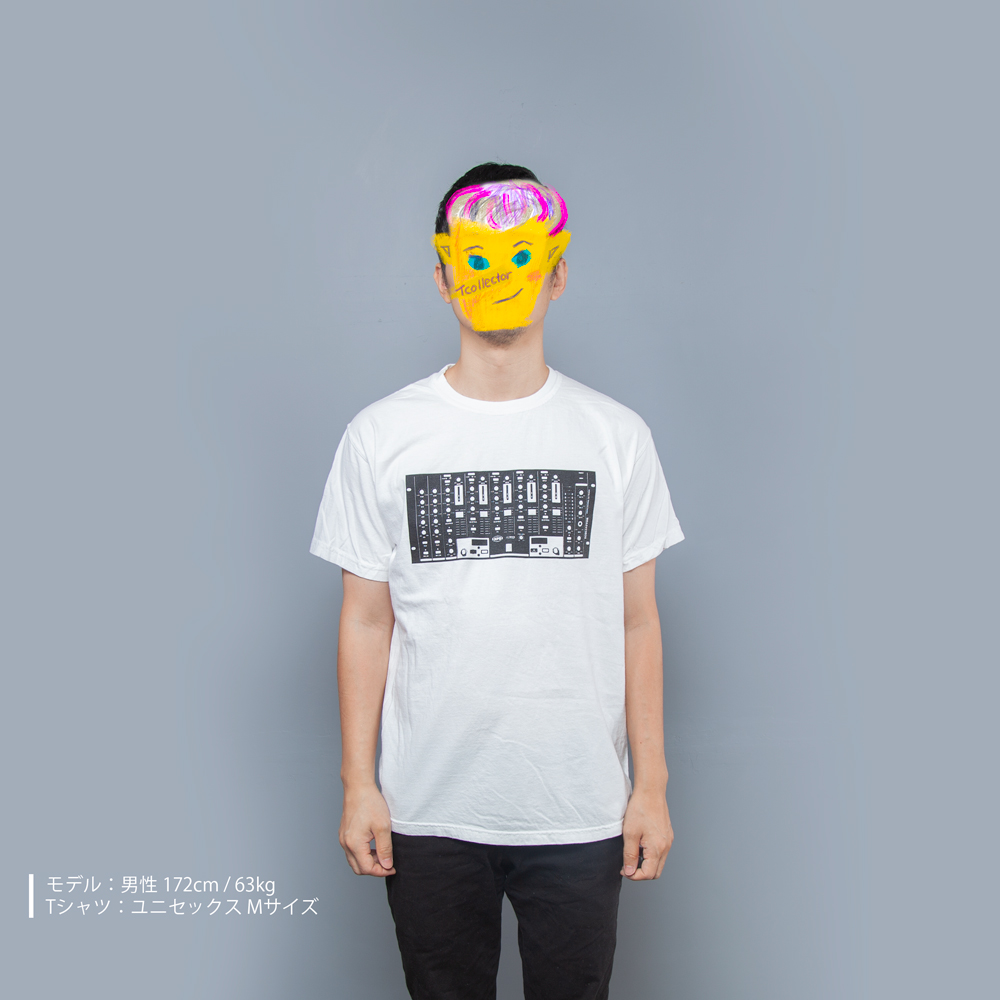DJミキサー音楽Tシャツ男性モデル正面