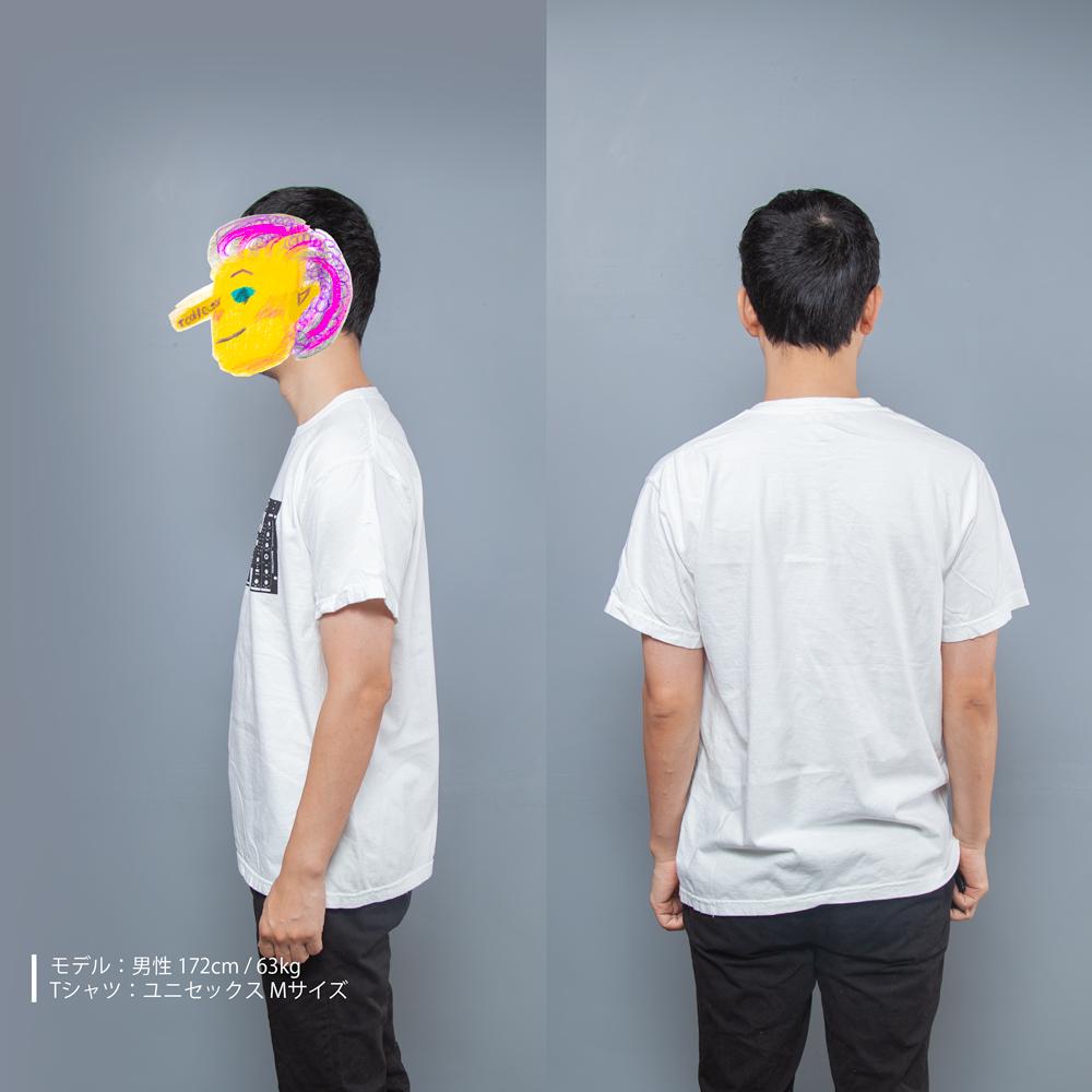DJミキサー音楽Tシャツ男性モデル横うしろ