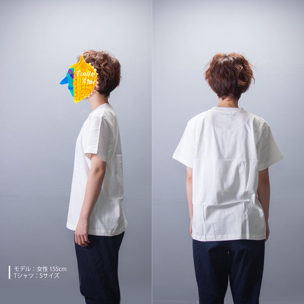 英語ノートTシャツ 女性モデル正面