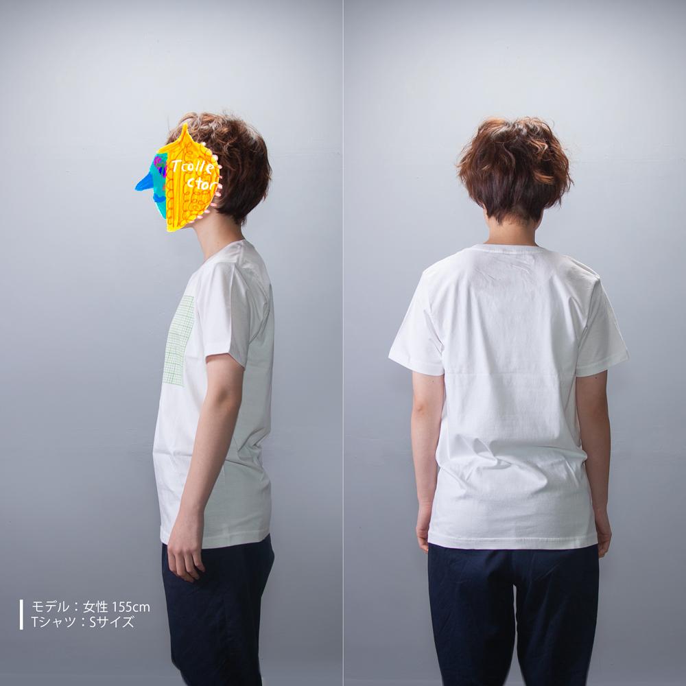 方眼紙 おもしろ Tシャツ 女性モデル正面