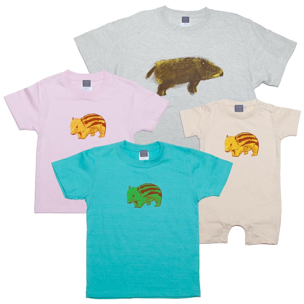 イノシシ 動物 ユニセックス Tシャツ (亥年) キッズ、ベビー