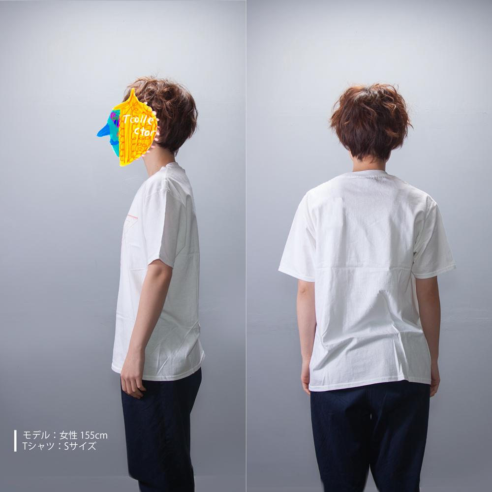 定規一式 ユニセックス プリント Tシャツ 女性モデル
