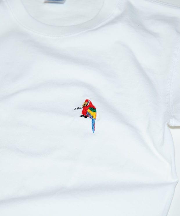 おうむペン先 刺繍 Tシャツ 拡大