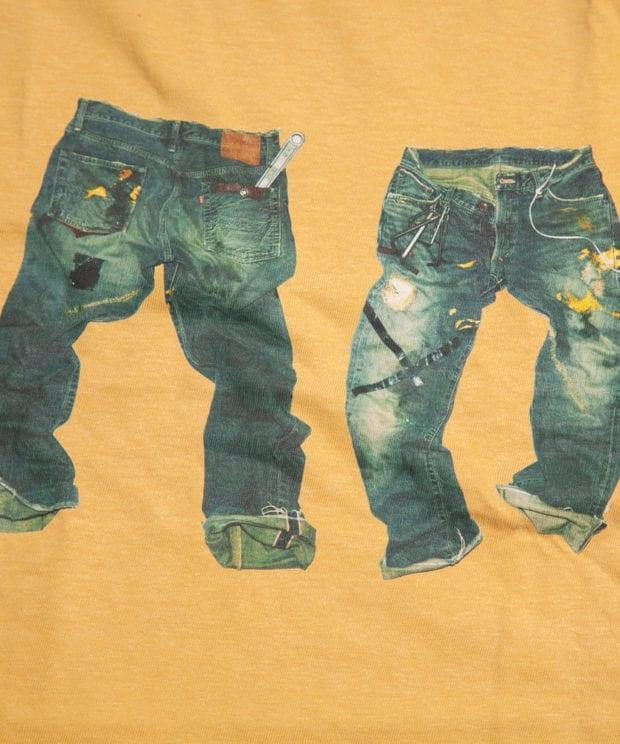 汚れたデニム DustJEAN Tシャツ 拡大 印刷