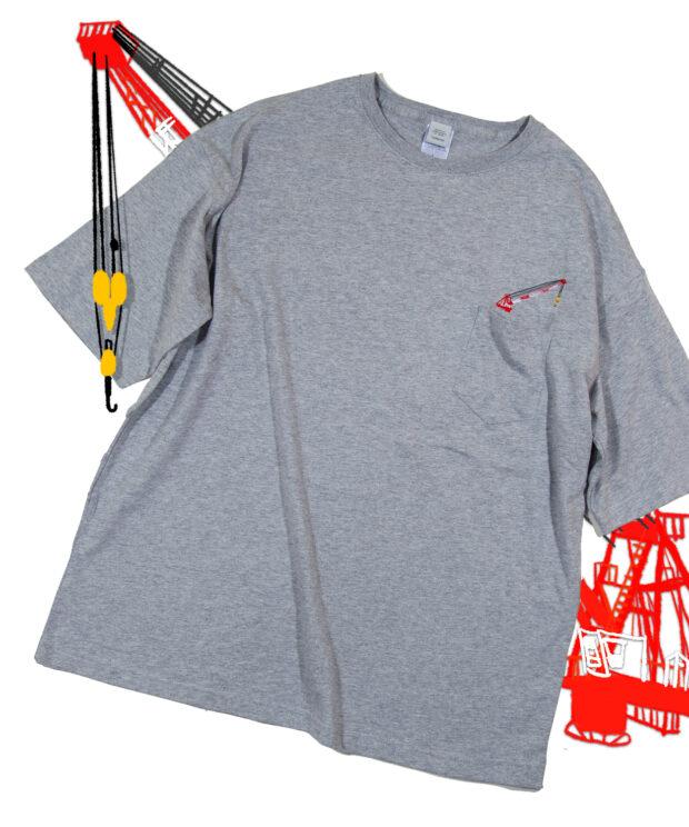 タワークレーンの刺繍Tシャツ