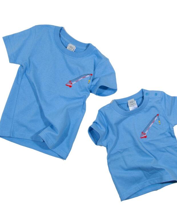 タワークレーンの刺繍Tシャツキッズ