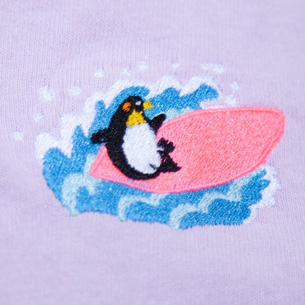 ペンギンサーフィン 刺しゅう Tシャツ