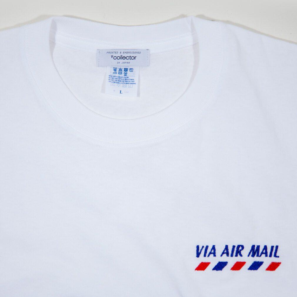 VIA AIR MAIL 刺しゅう Tシャツ